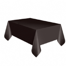 Black Table Cloth - Plastic 9ft Tablecover 1pc